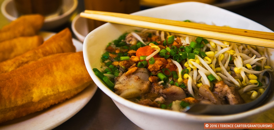 Breakfast noodles in Siem Reap, Cambodia. Copyright 2016 Terence Carter / Grantourismo. All Rights Reserved. Breakfast in Siem Reap.