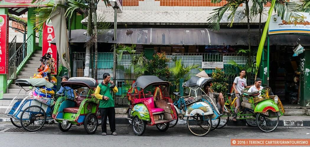 Tuk-tuks in Yogyakarta, Indonesia.
