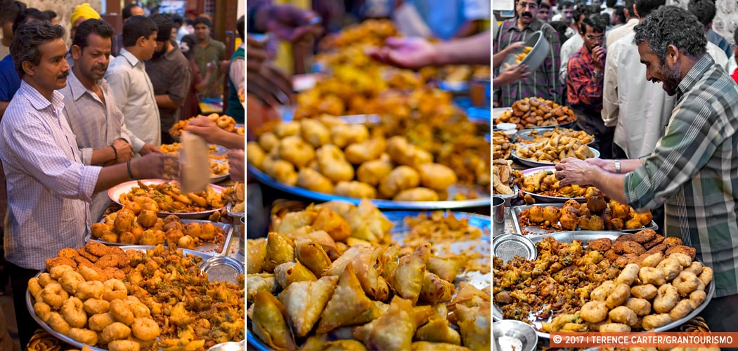 Buying pakoras and samosas, Dubai Creek, UAE. Copyright 2017 Terence Carter / Grantourismo. All Rights Reserved. Dubai Street Food. Where to eat in Dubai.