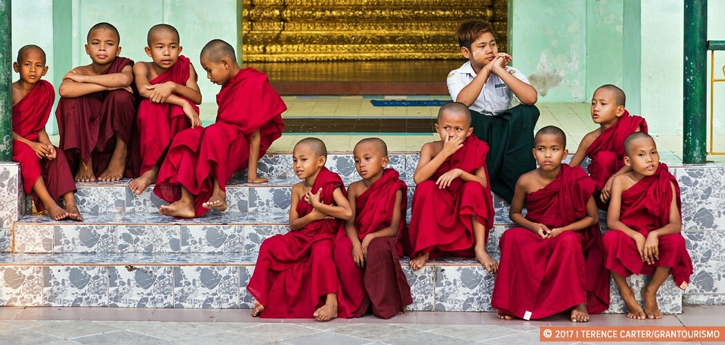 Novice monks at Shwedangon Pagoda, Yangon, Myanmar.