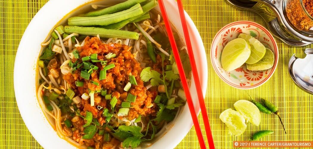 Khao Soi, a famous Laotian noodle dish.