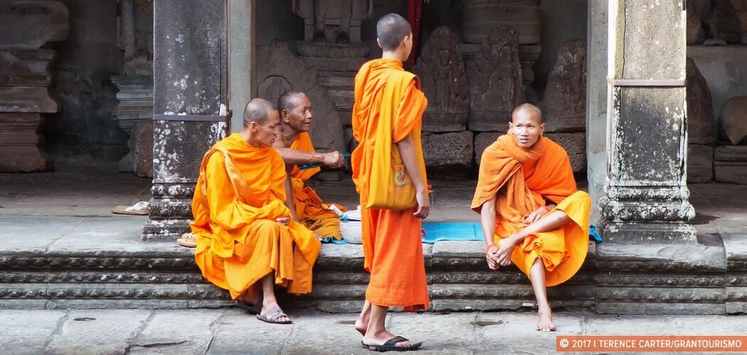 Monks at Angkor Wat, Siem Reap, Cambodia.