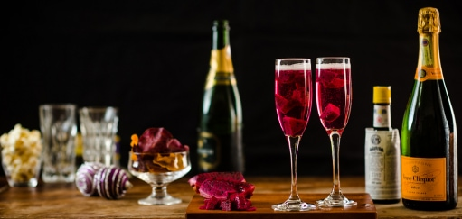 Classic Champagne Cocktail Recipe with a Tropical (Dragon) Fruit Twist