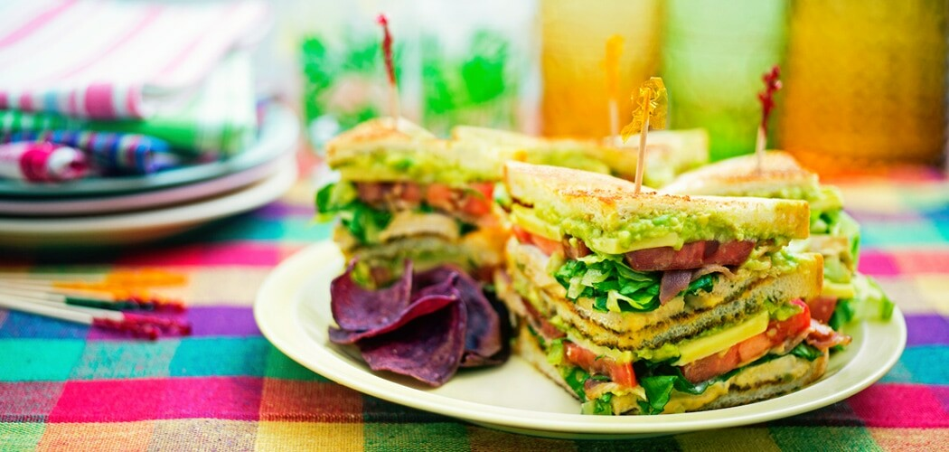Turkey Avocado Club Sandwich with Sriracha Mayonnaise