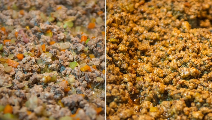 Ragù alla Bolognese Recipe – Bolognese Sauce – before and after. Copyright © 2018 Terence Carter / Grantourismo. All Rights Reserved.