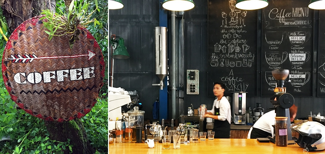 Dalat coffee tours. Left: K'Ho Coffee - cafe, roastery and coffee cooperative of K'Ho ethnic minority peoples. Right: La Viet - a cafe, roastery, coffee retailers, coffee educators. Dalat, Vietnam. Copyright © 2018 Terence Carter / Grantourismo. All Rights Reserved.