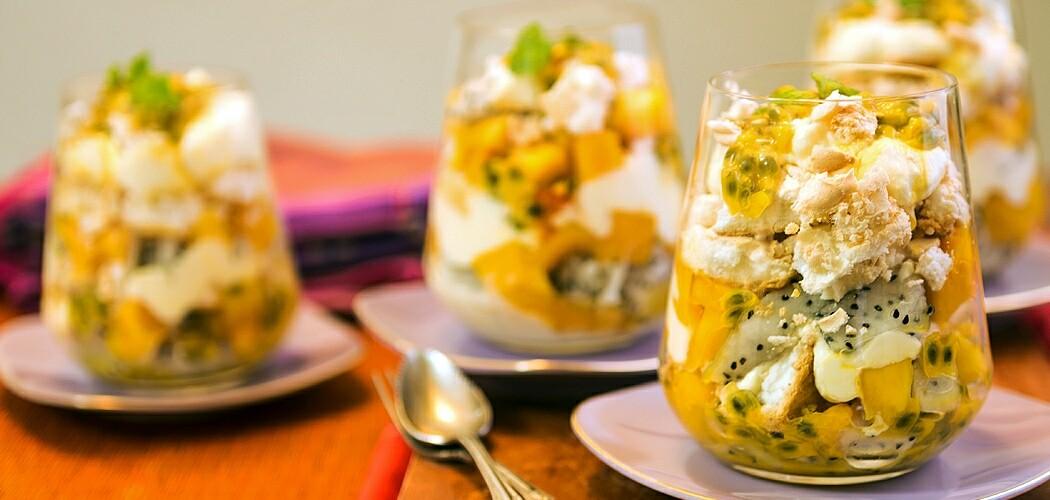 Eton Mess Recipe with Mango, Passionfruit and Dragonfruit