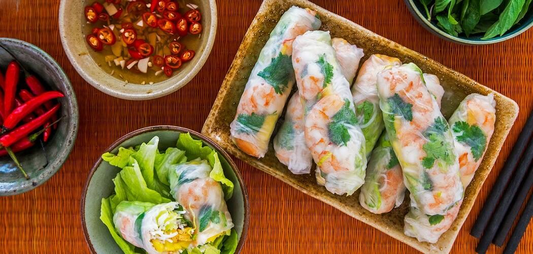 Vietnamese Pineapple Omelette Prawn Summer Rolls Recipe