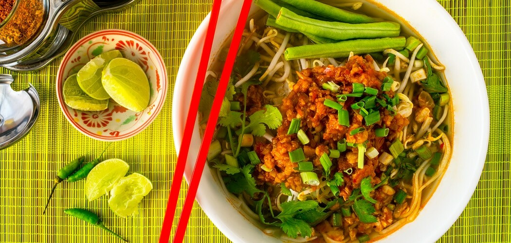 Lao Khao Soi Recipe – Rice Noodle Soup with Minced Pork