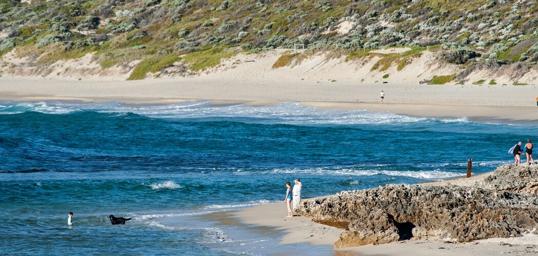 Peaceful Yallingup is a popular surfing area of the Margaret River area in Western Australia.