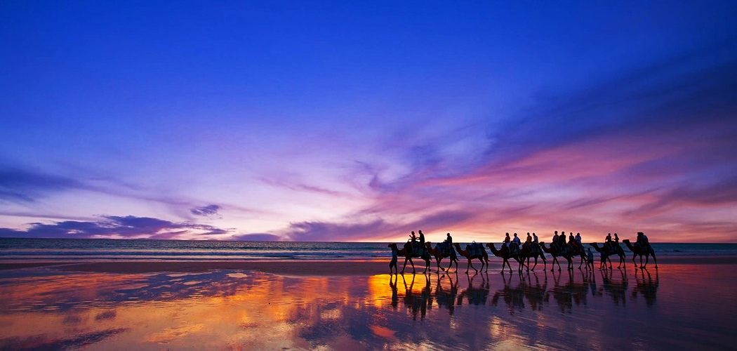 Sunset camel ride, Cable Beach, Broome, Western Australia. Best Sunsets in Australia – Most Breathtaking Spots to Watch the Sun Go Down