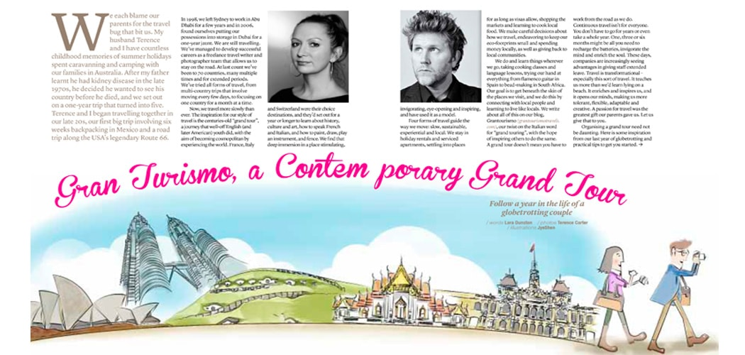 Sawadee Feature Story on Grantourismo Travels. Lara Dunston and Terence Carter.