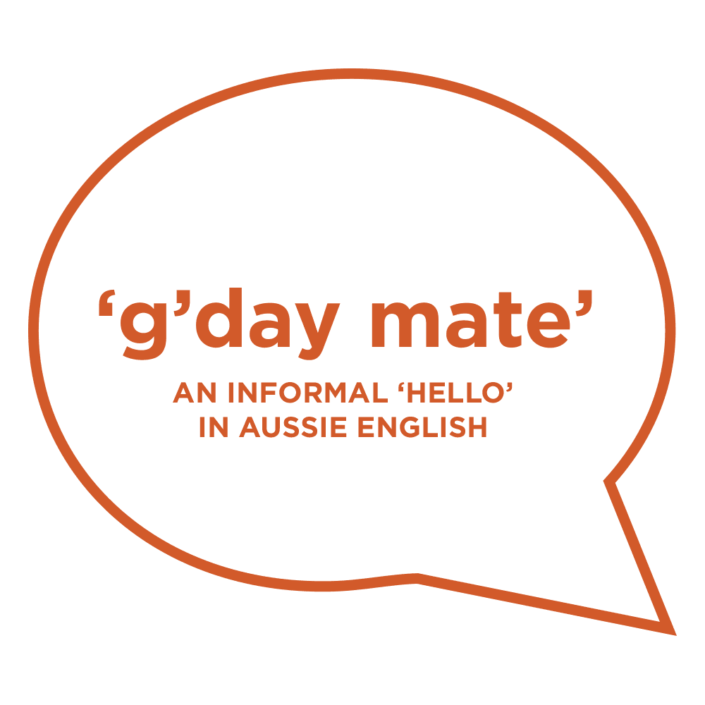Australian English language, 'hello' in Australian English, 'g'day mate'. Copyright © 2019 Terence Carter / Grantourismo. All Rights Reserved.