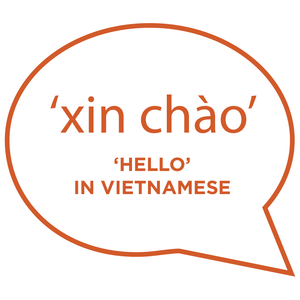 'xin chào' is a general 'hello' in Vietnamese. Copyright © 2019 Terence Carter / Grantourismo. All Rights Reserved.