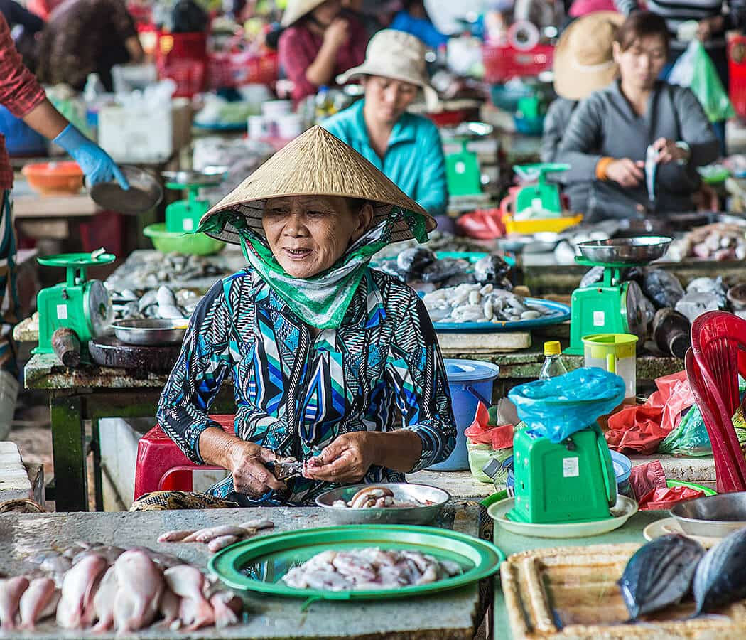 Chợ Cá Hội An, Hoi An Fish Market, Quang Nam Province, Vietnam. Copyright © 2019 Terence Carter / Grantourismo. All Rights Reserved. Vietnam 2019 Cuisine and Culture Tour.
