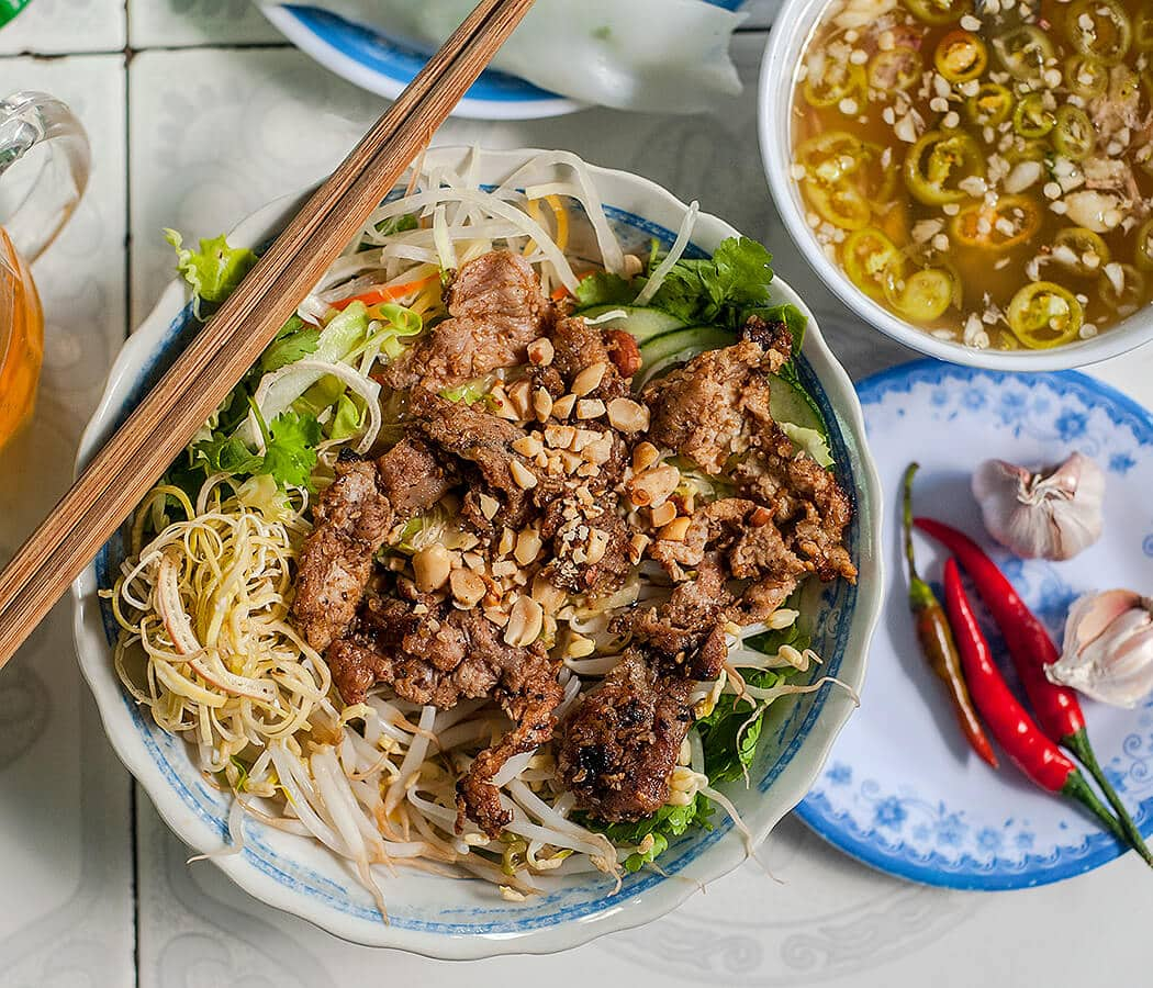 Bun Thit Nuong, Huyen Anh, Hue, Vietnam. Copyright © 2019 Terence Carter / Grantourismo. All Rights Reserved. Vietnam 2019 Cuisine and Culture Tour.