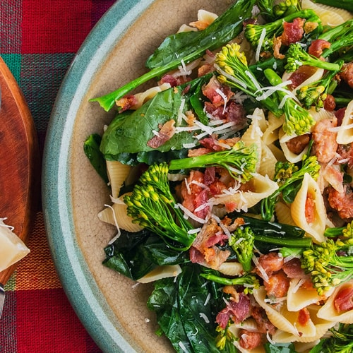 Orecchiette with Sausage and Broccoli Rabe Recipe with Pancetta. Copyright © 2019 Terence Carter / Grantourismo. All Rights Reserved.
