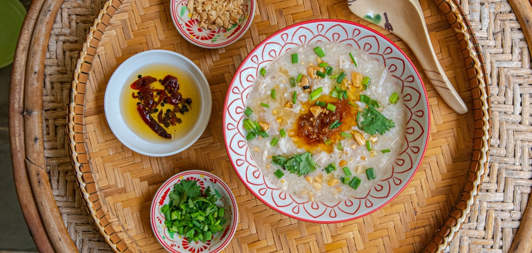 Pork and Crab Congee with XO Sauce Recipe. Copyright 2019 Terence Carter / Grantourismo. All Rights Reserved.