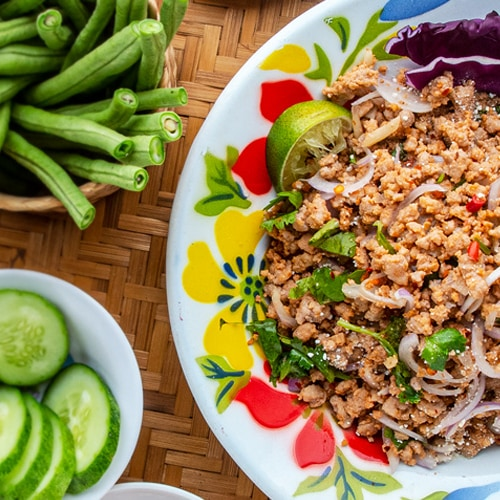 Pork Larb Recipe for Cambodian Laab Sach Chrouk. Copyright © 2020 Terence Carter / Grantourismo. All Rights Reserved.