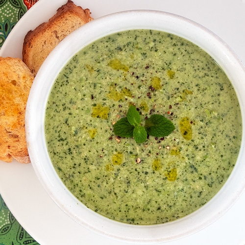 Chilled Pea and Mint Soup Recipe for an Easy No-Cook Cold Summer Soup. Copyright © 2021 Terence Carter / Grantourismo. All Rights Reserved.