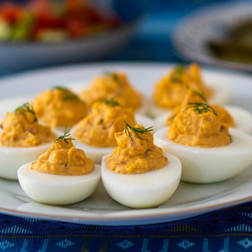 Russian Devilled Eggs Recipe for a Zakuski Table Fit for a Tzar. Copyright © 2021 Terence Carter / Grantourismo. All Rights Reserved.