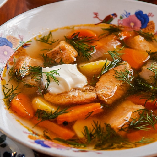 Russian Fish Soup Recipe for Ukha Made with Salmon and Vegetables. Copyright © 2021 Terence Carter / Grantourismo. All Rights Reserved.